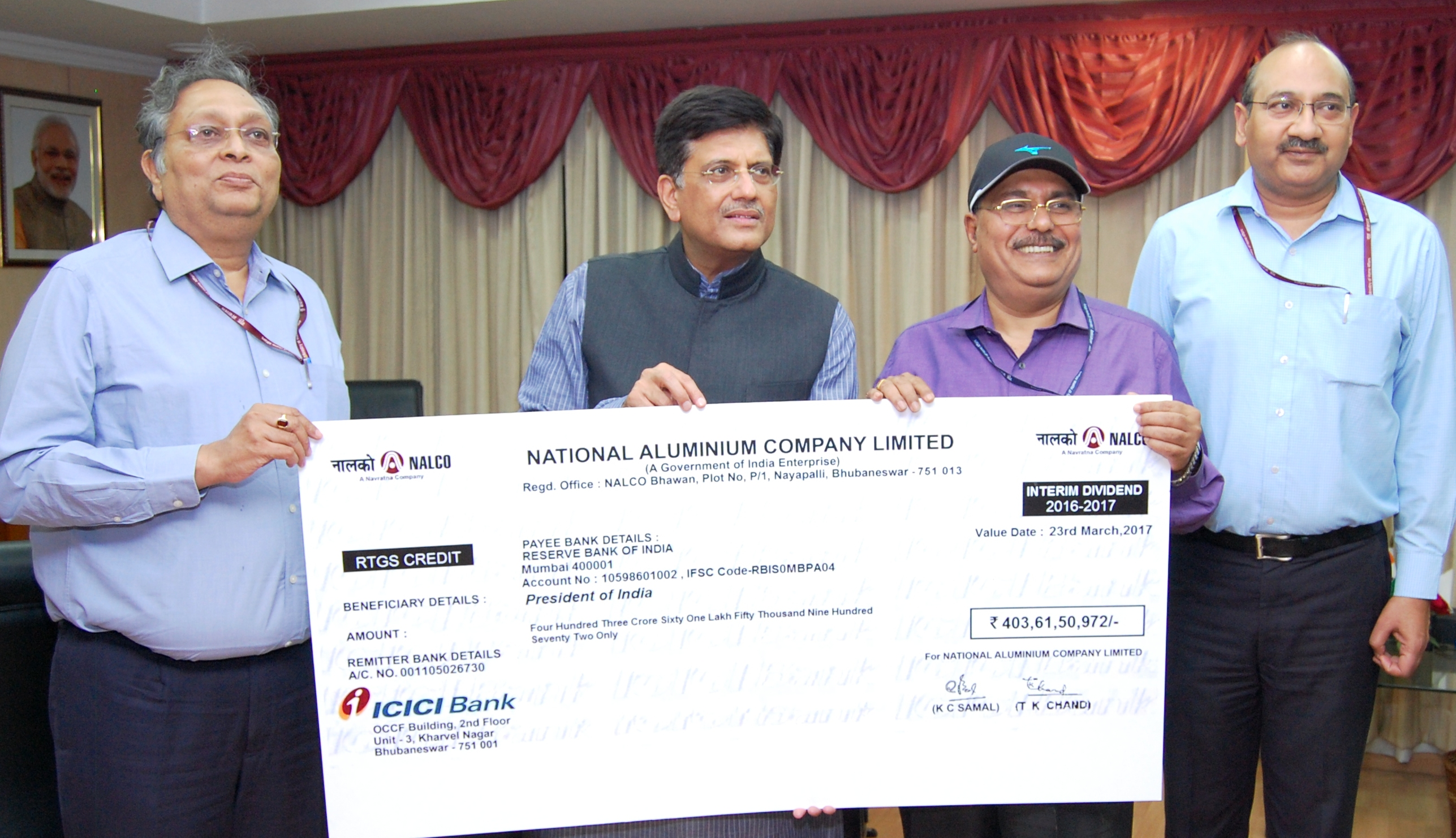 NALCO pays rs.403.62 crore interim dividend to Union govt.